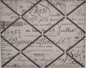 French Script Fabric  Memory,  Message, Photo Board - Tan, Cream, or Khaki