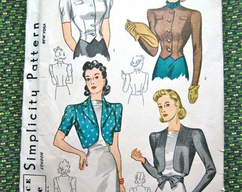 Vintage 1930s Simplicity 3366 sewing pattern.  Bust  30 inches