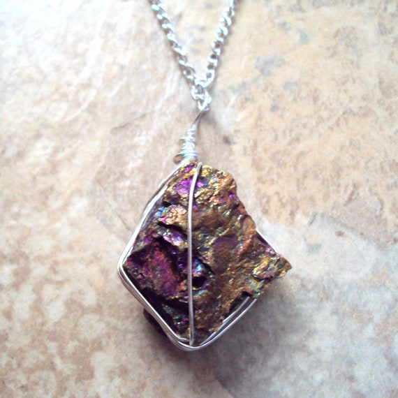 Peacock Ore Necklace Raw Stone Pyramid Chalcopyrite by ...