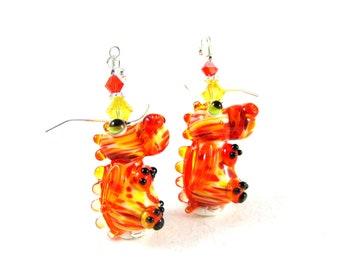 Dragon Earrings, Mythical Creature Earrings, Orange Yellow Earrings, Lampwork Earrings, Magic Dragon Earrings, Dragon Jewelry - Fiery Dragon