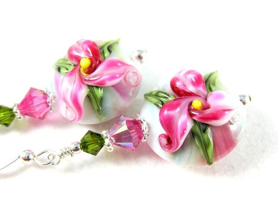 Pink Flower Earrings, Lily Earrings, Fuchsia White Floral Lampwork Earrings, Bright Pink Glass Earrings - Stargazer Lilies