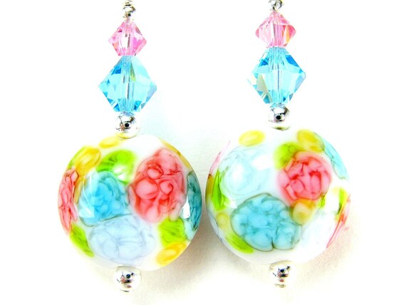 Pastel Floral Earrings, Lampwork Earrings, Glass Earrings, Flower Earrings, Chintz Earrings, Dangle Earrings, Beadwork Earrings - Hydrangea