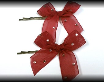 Hair Bows / bobby pins / maroon or purple