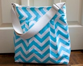 chevron diaper bag in baby blue canvas // water resistant lining // overnight bag // blue zigzag // the bravo bag // READY TO SHIP