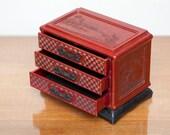 Vintage Burgundy Pearlescent and Ebony Black Plastic Chinese Dresser Jewelry Box