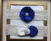 Wedding Garter - Vintage Bridal Garter - Cream Wedding Garter Set - Something Blue Bridal Garter Set