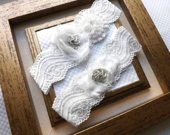 Wedding Garter - Bridal Lace Garter - Vintage Ivory Garter Set - Lace Garter Set - Ivory Wedding Garter Set
