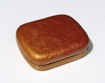 Handmade Textured Golden Metal Tin, Mini Box, Gift Box, Polymer Clay Box, Metal Tin, Mom Gift, Gift for Her