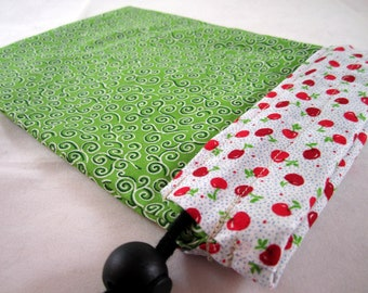 Project Bag, Green and White, Apples and Swirls, Small
