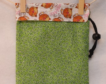 Small Fabric Gift Bag, Project Bag,  Green Swirls, Cats, Small