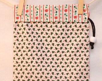 Christmas Gift Bag, Holiday Project Bag, Christmas Trees, Holly Stripes, Small