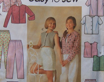 Already Reduced - See shop announcement for 60%off code - Simplicity 7228 Pattern - Girls Knit Tops, Skirt, Pants & Shorts - UNCUT