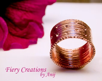 """Cigar Band Ring """"Carousel"""" Hand Fabricated, Copper pierced Band with chisled edges, OOAK"""