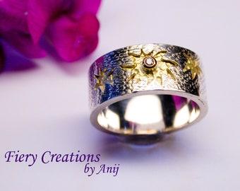 "Ring - ""Lemmings"" -  Sterling Silver, 18k yellow Gold, Brillant cut white diamond"