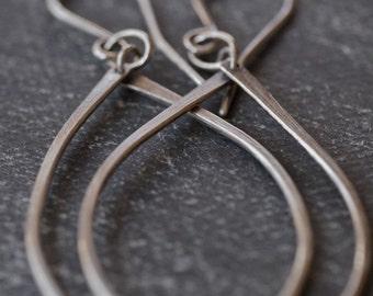 Modern classic long hammered silver tear drop earrings