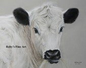 "Cattle Art Print Angus Longhorn Cross ""DORA"" by Roby Baer PSA"