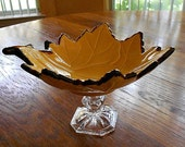 Fall Leaves Relish Dish - Your color choice - Gold or Orange, Home Decor Serving Dish