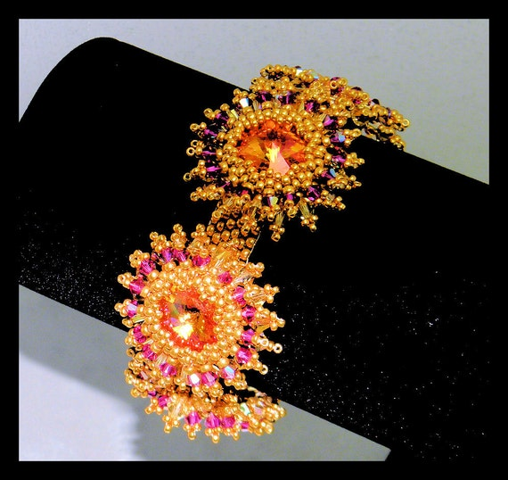 Bracelet with Pink Brandy  Swarovski crystal stones,bicones and gold seed beads