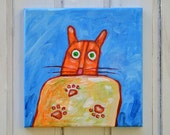 Acryllic painting of an orange cat 'Spooked'