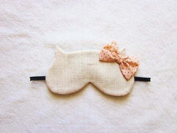 Fancy Cotton Tweed Cat Eye Mask
