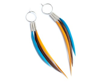 Long Interchangeable Feather Hoops in Orange, Turquoise and Chocolate Brown