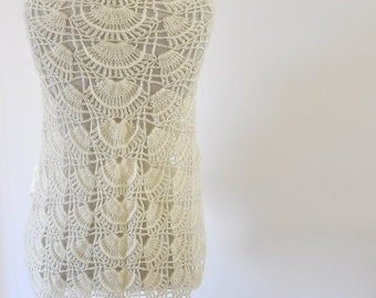 Crochet Shawl Weddings Shawl Ivory Mohair Unique Delicate Chic Romantic