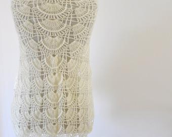 Crochet Shawl Weddings Shawl Ivory Mohair Unique Delicate Chic Romantic