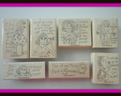 Stampin Up Wisecracks Stamp Set - 7 Stamps & Container