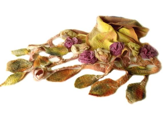 Nuno felt scarf wool silk chiffon 3D silk flowers grid leaf fringe autumn wedding yellow mustard green purple