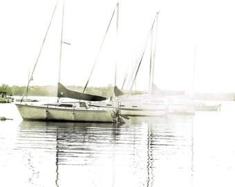 "Black and white sailboats ocean summer harbor minimal nautical boating pastel coastal decor -  ""The Boats"" 8 x 10"