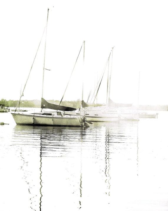 "Black and white sailboats ocean summer harbor minimal nautical boating pastel coastal decor -  ""The Boats"" 8 x 10"