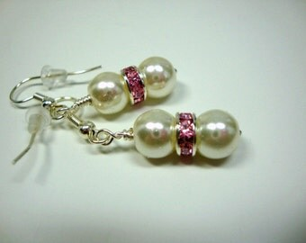 Pink and White Crystal Delight Pearl Earrings