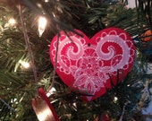 Hand Painted Lace Scandinavian Heart Ornament