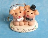 Piggy, Pigs Our First Christmas Married Christmas Ornament Bride and Groom