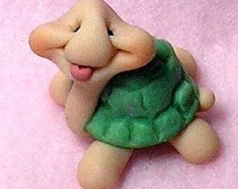 Funny Miniature Turtle Figurine / cupcake topper