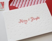 Letterpress Holiday Card - Merry & Bright Card