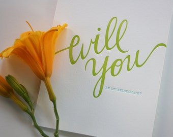Letterpress Bridesmaid Card - Will you be my Bridesmaid - Wedding