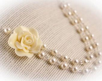 Bridesmaid Necklace, Pearl Necklace, Ivory Fashion Rose Double Strand Wedding Necklace