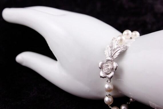 Wedding Jewelry Callie Silver Flower and Leaf Pearl Bracelet