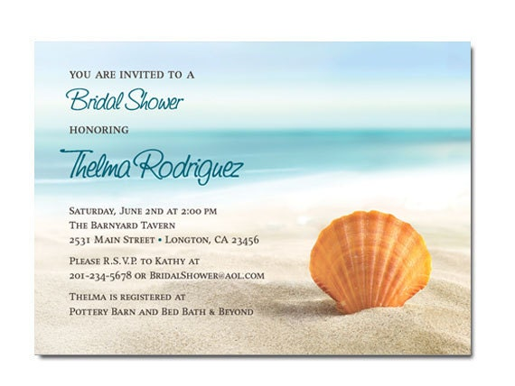 Items Similar To Beach Theme Bridal Shower Invitations On Etsy