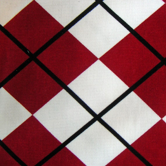 1 yd. Argyle Corduroy in Cream and Scarlet