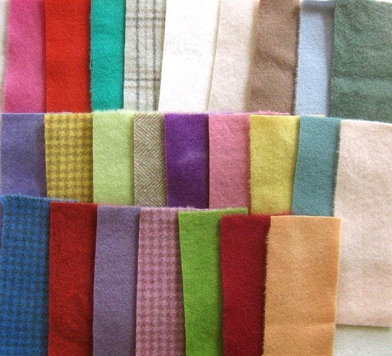 SALE Hand Dyed Felted Wool Scrap Bundle 66