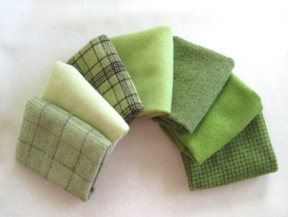 """Hand dyed felted wool in a combination of seven green tones 15"""" x 6"""" number 2820"""
