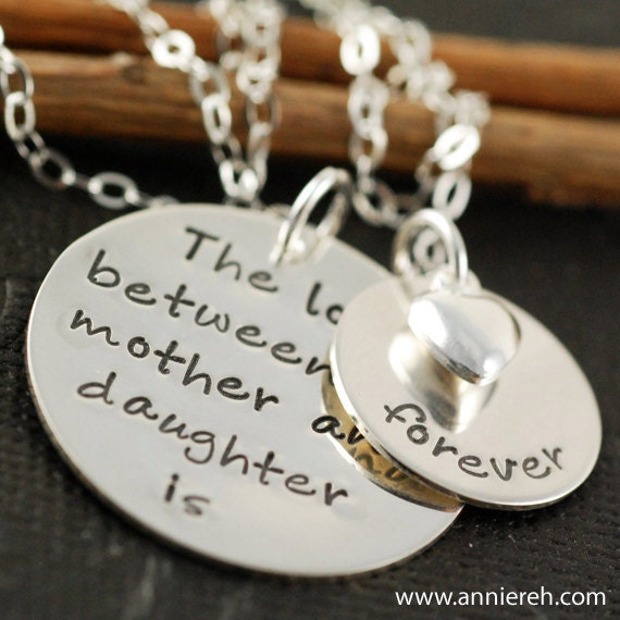 Hand Stamped Jewelry - Personalized Jewelry - Sterling Silver Jewelry - The Original Hand Stamped Mother & Daughter Necklace  -