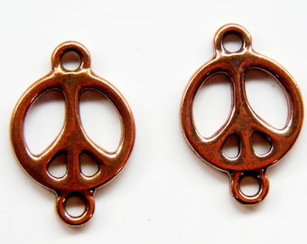 6 Copper Peace Sign Connectors Double Sided Charms Made in USA RT4494039712 CLEARANCE