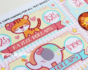 Circus Party Paper Toy Money or Gift Certificate Printables GIRLY - Editable Text PDF-You type in the text to personalize