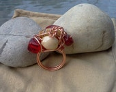 Copper Wire Wrap Ring with Glass Beads Size 8