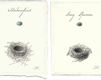 Two Little Birdnests and Egg Prints
