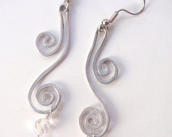 Silver Aluminum Earrings with Crystals and Swirls