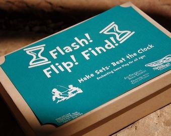 Flash Flip Find Sets Game- 42 Hardwood Game Pieces plus Sand Timer